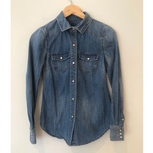 J Crew Western Denim Shirt Snap Button XXS
